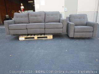Gray Fabric USB Couch & Loveseat