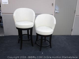 Pair of Ivory Leather Barstool Chairs