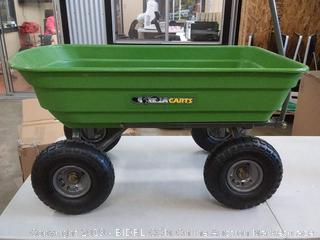 """Gorilla Carts Poly Garden Dump Cart with Steel Frame and 10"""" Pneumatic Tires, 600-lbs. Capacity, Green"""