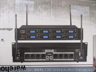Pyle Professional 8 Channel UHF Wireless Microphone System 8 Handheld Mics Rack Mount Receiver Base RF & AF Radio/Audio Frequency Digital Display Independent Channel Volume Control (PDWM8250) ($359 Retail)