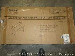 Executive desk with USB and charger hub, white oak