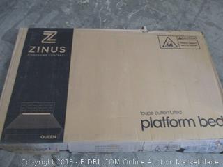 Zinus taupe button tufted platform bed