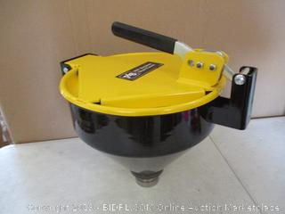 "New Pig Burpless Steel Drum Funnel for 5 to 55-Gallon Steel or Poly Drums with 2"" NPT, One Hand Sealable, 15"" x 11"" x 13"", Yellow, DRM1125-YW-NPT ($287 Retail)"