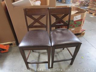 Pair of Wood/Leather Chairs