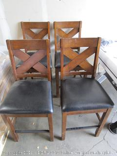 Set of 4 Leather and Wood Tall Dining Chairs