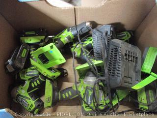 Box Lot of Greenworks Drills