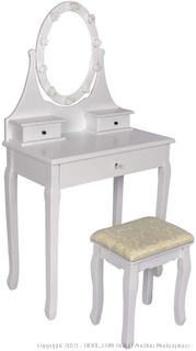 makeup vanity table set with benches color white (online $152)