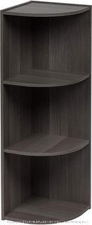 3-Tier Corner Curved Shelf Organizer, Gray
