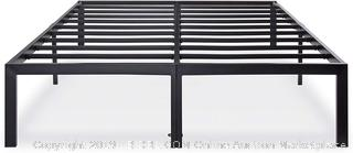 Olee Sleep 14 Inch Heavy Duty Steel Slat/ Anti-slip Mattress Foundation/ Bed Frame No Box Spring Needed, Black Queen (online $107)