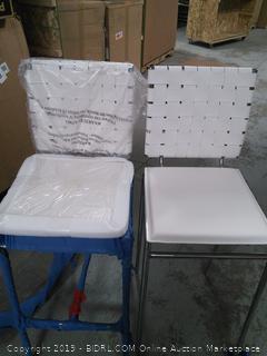 2 white criss cross bar stools (online $396)