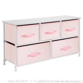 5 drawer storage unit pink and white