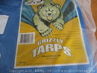 B-Air Grizzly Tarps 20 x 30 Feet Blue Multi Purpose Waterproof Poly Tarp Cover 5 Mil Thick 8 x 8 Weave