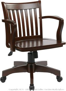 Deluxe Wood Banker's Chair with Wood Seat in Espresso Wood Finish (online $116)
