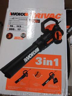 WORX WG512 Trivac 2.0 Electric 12-amp 3-in-1 Vacuum Blower/Mulcher/Vac, Black and Orange