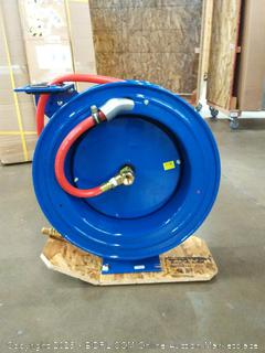 """Coxreels P-LP-450 Low Pressure Retractable Air/Water Hose Reel: 1/2"""" I.D., 50' Hose Capacity, with hose, 300 PSI, Made in USA"""