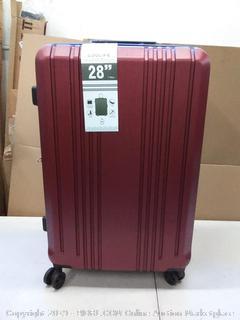 coolife 28 inch hard spinner suitcase burgundy