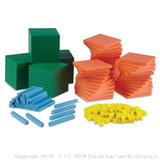 hand2mind Differentiated Base Ten Blocks, Class Set of 488, Includes 4 Base Ten Place Value Mats plastic container broken (online $77)