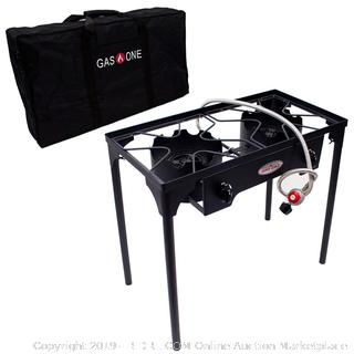 GasOne B-5000+50460 Propane Double Burner & Carry Bag 2 Burner Gas Stove Outdoor (online $94)