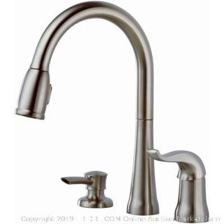 Delta Faucet Kate Single-Handle Kitchen Sink Faucet with Pull Down Sprayer, Soap Dispenser and Magnetic Docking Spray Head, Stainless 16970-SSSD-DST (online $189)