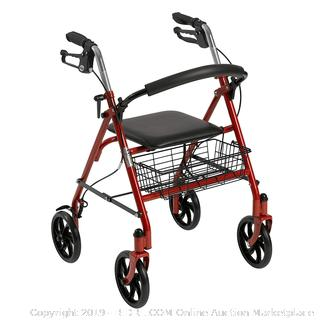 Drive Medical Four Wheel Rollator Red (online $56)