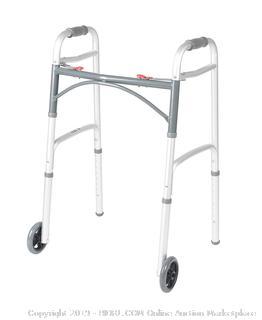 """Drive Deluxe Folding Walker 2 Button 5"""" Wheels- Adult"""