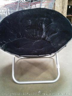 Black Saucer Fluffy Chair