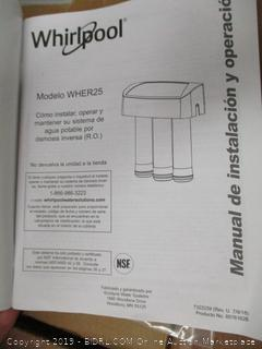 Whirlpool WHER25 Reverse Osmosis Filtration System With Faucet (Retail $150)
