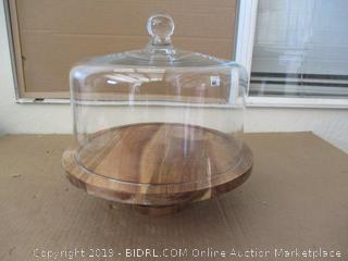 Round Wood Server Cake Stand with Glass Dome