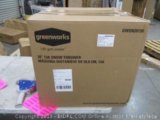 """Greenworks 20"""" 13 amp Snow thrower"""