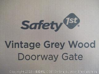 Safety 1st - Vintage Grey Wood Doorway Gate (Damaged Locking Bar, Please See Pictures)