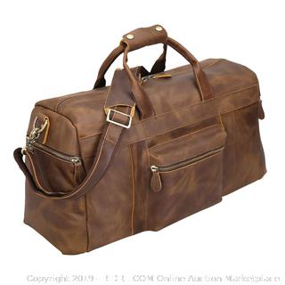 "Polare 25"" Duffle Genuine Leather Weekender Travel Duffle Luggage Bag with YKK Zipper (online $190)"