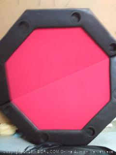 """Brybelly 48"""" Red Felt Folding Octagon Poker Table Top w/Cup Holders & Padded Rail (online $109)"""