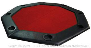 "Brybelly 48"" Red Felt Folding Octagon Poker Table Top w/Cup Holders & Padded Rail (online $109)"