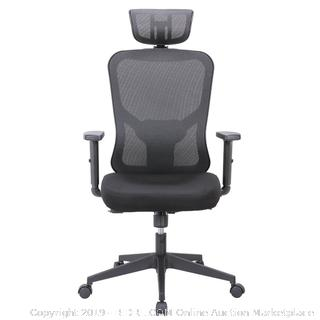 Cedric Office Chair Home Computer Chair Ergonomic Adjustable Headrest PU-Armrest Lumbar Support Mesh Nylon CD-861FH  (online $189)