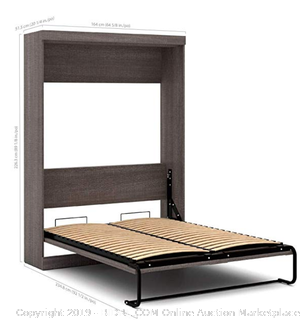 "Queen Wall Bed, Bark Gray/White 90""- Bestar -Online $1813"