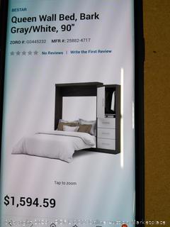 "Queen Wall Bed, Bark Gray/White 90""- Bestar -Online $1813"