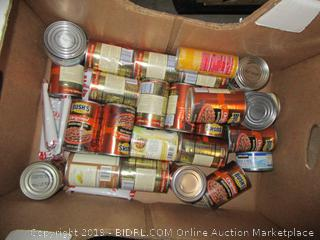 Box Lot Canned Food, Beans, Chili