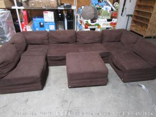 Large Brown Microfiber Convertible Sectional Couch