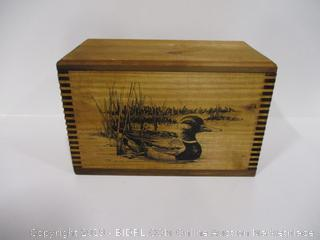 American Wildlife Hinged Lid Wooden Box Ducks
