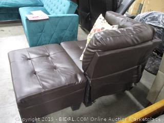 Brown Leather Sectional Piece