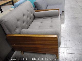 Christopher Knight Home Greta Mid Century Modern Fabric Club Chair, Gray, Dark Walnut
