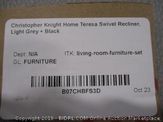 Christopher Knight Home Teresa Swivel Recliner, Light Grey + Black