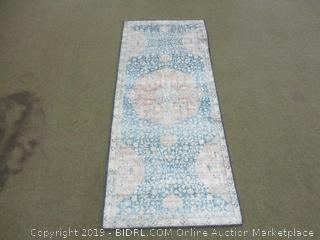 """Loloi ll  LAY-07 Layla Collection Printed Vintage Persian Area Rug 2'0"""" x 5'0""""  Blue/Tangerine"""