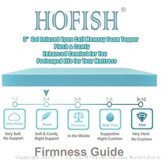 HOFISH 3 Inches Gel Infused Memory Foam Mattress Topper-Queen
