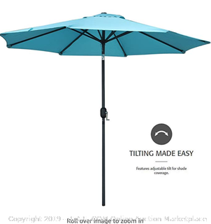 SNAIL 9' Aluminum Patio Umbrella Sun ray Protection Fade Resistant Outdoor Market Umbrella with Push Button Tilt, 8 Ribs, Light Blue