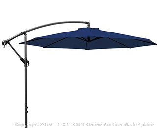 MASVIS Offset Umbrella 10 Ft Cantilever Patio Umbrella Outdoor Market Umbrellas Crank with Cross Base, 8 Ribs (10FT, Blue) (Online $240)