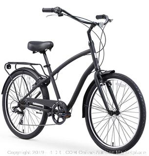 sixthreezero Men's 26-Inch 7-Speed Hybrid Cruiser Bicycle (Matte Black) - Online $399