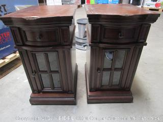 Pair of Wood USB Powered Outlet Side Tables / Night Stands