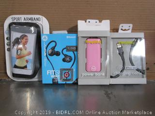 Cell Phone Accessories: Armband, Earbuds, Power Bank