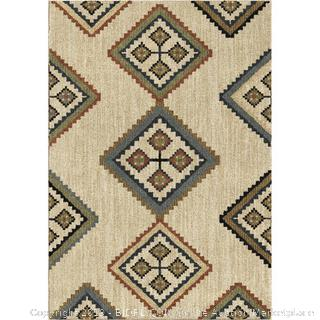 area rug white and beige 5 ft by 7 (online $267)
